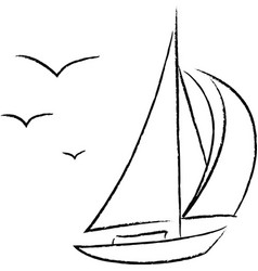 Chalk sailboat with birds outline vector