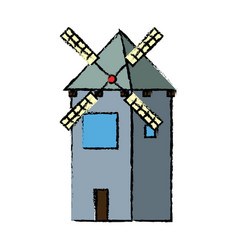 Traditional old windmill building farm vector