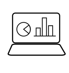 Laptop with chart icon vector
