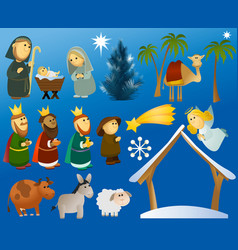 Set of christmas scene elements vector