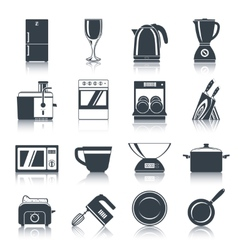 Kitchen appliances icons black vector
