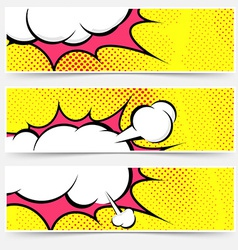 Explosion steam bubble pop-art web header set vector