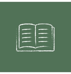 Open book icon drawn in chalk vector