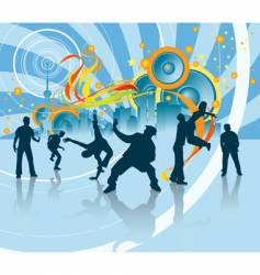 dancing silhouettes at party vector image