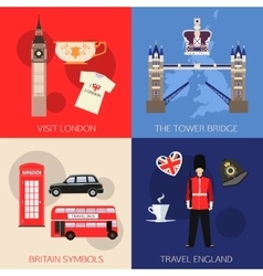 Set of england travel compositions with place for vector