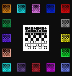 Checkers board icon sign lots of colorful symbols vector