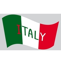 Italian flag waving with word italy vector
