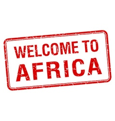 Welcome to africa red grunge square stamp vector