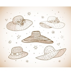 Set of five summer hats vector