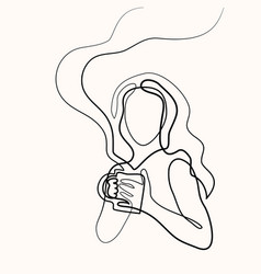 abstract portrait of a woman with cup of tea vector image