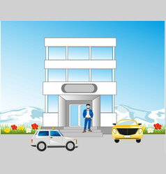 Building beside roads vector