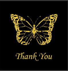 butterfly golden thank vector image