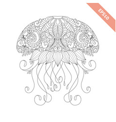 cartoon jellyfish with ornament vector image