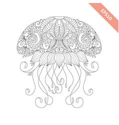 Cartoon jellyfish with ornament vector