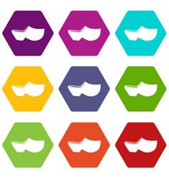 Clogs icon set color hexahedron vector