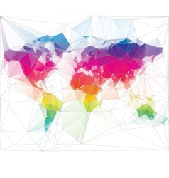 Colored world map triangle design vector