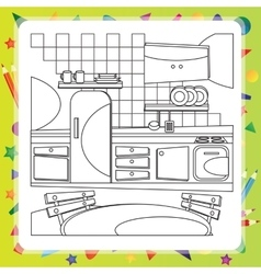 Coloring book with kitchen - vector image