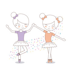 Cute two girl ballerinas with tutu dress image vector