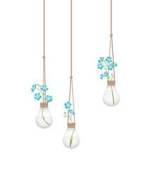 flower in a light bulb vector image