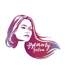 girl beautiful woman face hand drawn vector image
