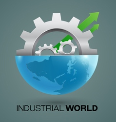 Globes and gears industrial vector image vector image