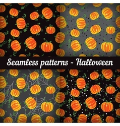 Halloween Pumpkins Set of seamless patterns vector image