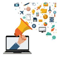 hand holding speaker laptop marketing news media vector image