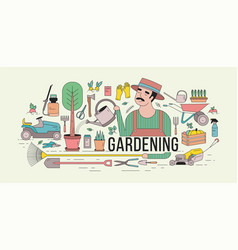 horizontal banner with gardener in hat watering vector image