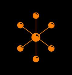 Molecule sign orange icon on black vector