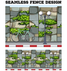 Seamless background design with brick fence vector