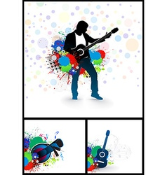 set of music theme vector image