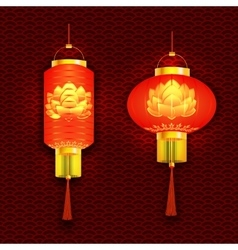 Set of red chinese lanterns and round cylindrical vector