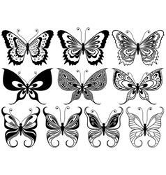 set of ten ornamental butterflies vector image