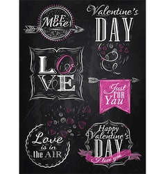 Set Valentines Day pink vector image