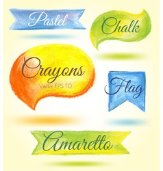 Set watercolor speech bubbles ribbons flags vector image vector image