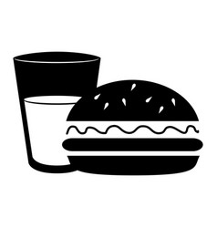 Silhouette glass cup drink and hamburguer food vector