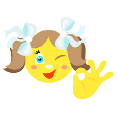 smiley girl with a gesture ok vector image