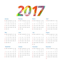 Template of calendar 2017 year vector image