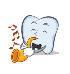 Tooth character cartoon style with trumpet vector
