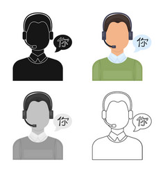 translator icon in cartoon style isolated on white vector image vector image