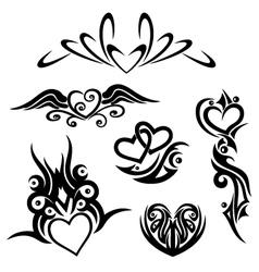Tribals hearts vector image vector image