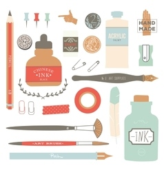 Vintage art tools - pens ink tag stamps vector