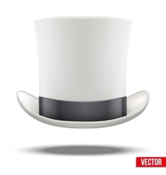 White gentleman hat cylinder with black ribbon vector image vector image