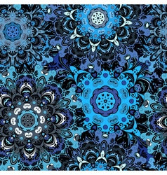 Deep blue colored seamless pattern with eastern vector