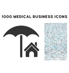 House under umbrella icon with 1000 medical vector