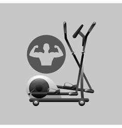 Fitness silhouette elliptical machine gym graphic vector