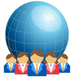 Business men and women with globe vector