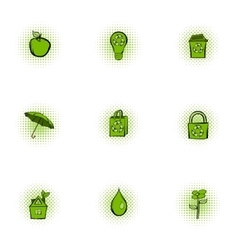 Purity of nature icons set pop-art style vector