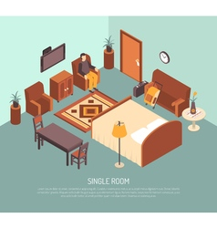 Hotel single room isometric poster vector