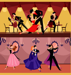 professional dancers horizontal banners vector image